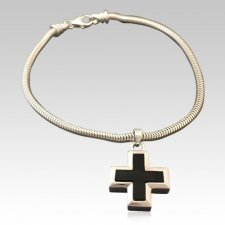 Onyx Cross Cremation Bracelet
