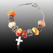 Orange Cross Cremation Bracelet