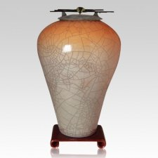 Raku Tall Orange Star Cremation Urns