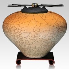 Raku Orange Star Cremation Urns
