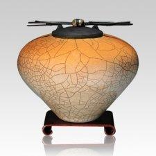 Raku Orange Star Large Cremation Urn