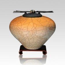 Raku Orange Star Medium Cremation Urn