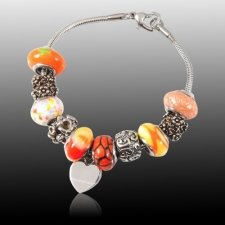 Orange Heart Cremation Bracelet