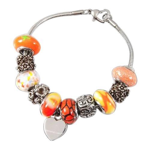 Orange Heart Cremation Bracelet