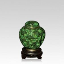 Oriental Green Small Cloisonne Urn
