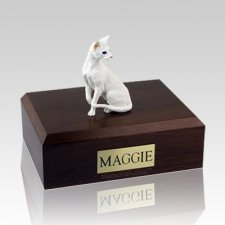 Oriental White Large Cat Cremation Urn