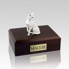 Oriental White Medium Cat Cremation Urn