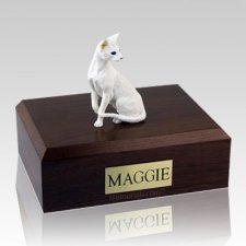 Oriental White X Large Cat Cremation Urn