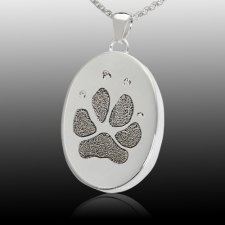 Oval Paw Print Cremation Keepsakes