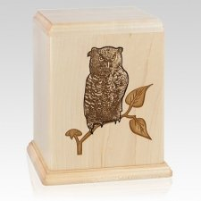 Owl Maple Wood Cremation Urn