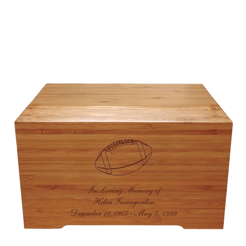 Football Bamboo Distinction Green Cremation Urn