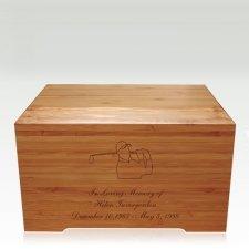 Golfer Bamboo Distinction Green Cremation Urn