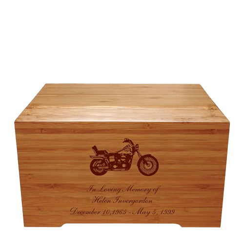 Motorcycle Bamboo Distinction Green Cremation Urn