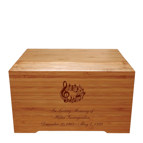 Music Notes Bamboo Distinction Green Cremation Urn