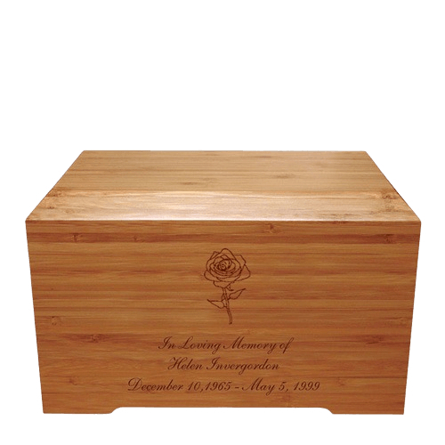 Rose Bamboo Distinction Green Cremation Urn