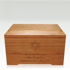 Star of David Bamboo Distinction Green Cremation Urn