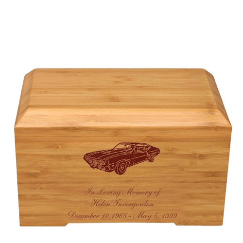 Racecar Bamboo Essence Cremation Urn