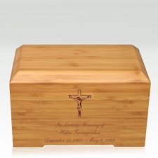 Crucifix Bamboo Essence Cremation Urn