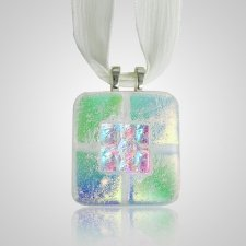 Clear Green Memorial Ashes Pendant