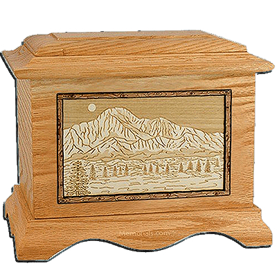 Pikes Peak Oak Cremation Urn For Two
