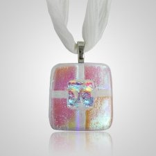 Clear Pink Small Memorial Ashes Pendant