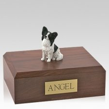 Papillon Black & White Sitting Dog Urns