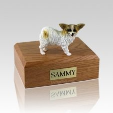 Papillon Brown & White Large Dog Urn