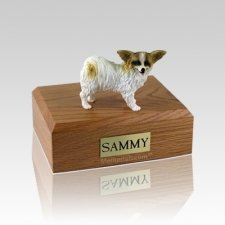 Papillon Brown & White Medium Dog Urn