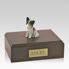 Papillon Brown & White Sitting Large Dog Urn