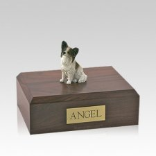 Papillon Brown & White Sitting Medium Dog Urn