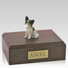 Papillon Brown & White Sitting Dog Urns