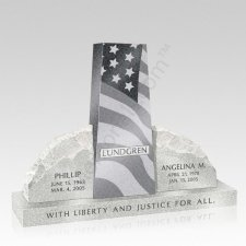 Patriotic Upright Cemetery Headstone