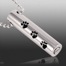 Paw Cylinder Cremation Necklace