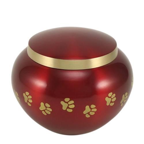 Paw Print Crimson Medium Pet Urn