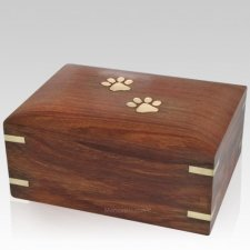 Paw Print Wood Cremation Urn
