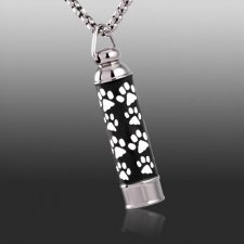 Paw Prints Cylinder Memorial Jewelry