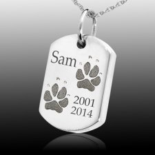 Paw Tag 14k White Gold Print Cremation Keepsake