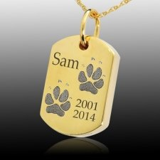 Paw Tag 14k Gold Print Cremation Keepsake