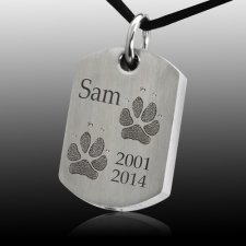 Paw Tag Stainless Print Cremation Keepsake