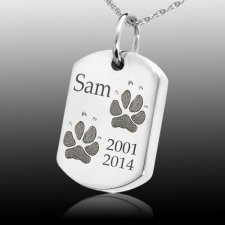 Paw Tag Sterling Print Cremation Keepsake
