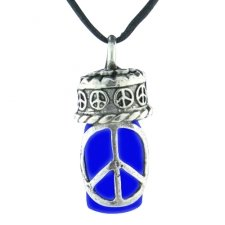Peace Blue Pet Ash Urn Necklace