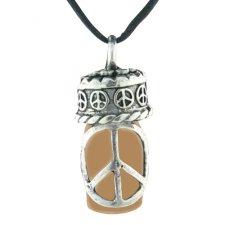 Peace Brown Pet Ash Urn Necklace