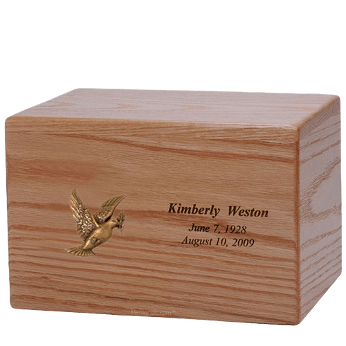 Peace Dove Wood Cremation Urn
