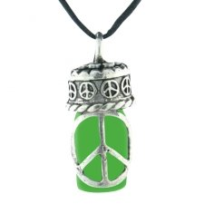 Peace Green Pet Ash Urn Necklace