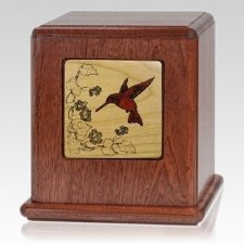 Peace Hummingbird Wood Cremation Urn