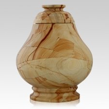 Peace Teak Marble Cremation Urn
