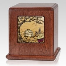 Peaceful Garden Wood Cremation Urn