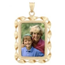 Peaceful Yellow Gold Photo Pendant