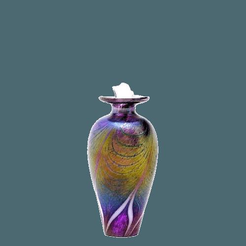 Peacock Glass Keepsake Cremation Urn