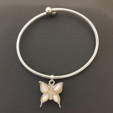 Pearl Butterfly Ash Cremation Bracelet